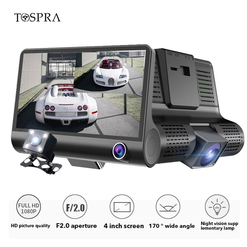 TOSPRA 4.0 Inch Car DVR 3 Camera Full HD 1080P Dual Lens Rearview Video Night Vision