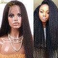 Brazilian human hair kinky straight lace front wig with baby hair kinky straight wigs for black women italian yaki full lace wig
