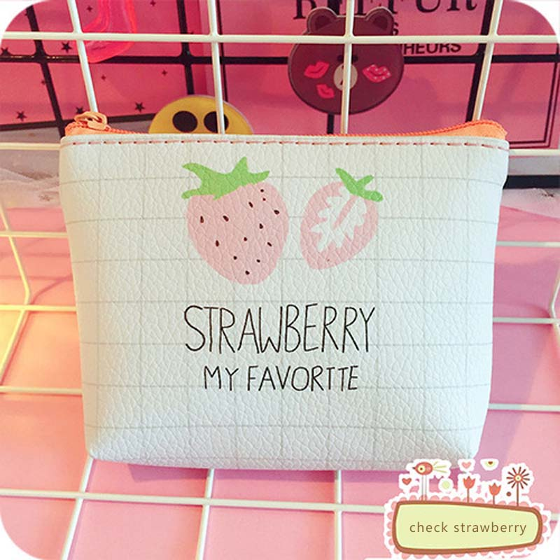 NIBESSER Strawberry Print Women Coin Purse Cartoon Letters Girls Purse Money Bag Sweet Lady Money Holder Female Simple Wallet