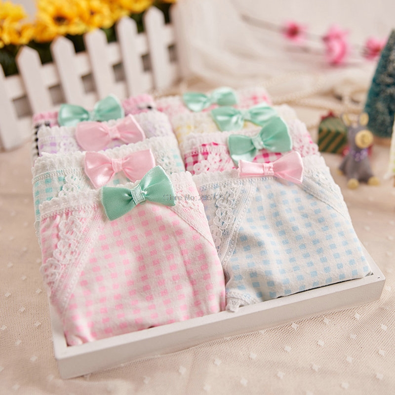 Pure Cotton Women Panties Underwear with Hem Lace Cute Girls Hips Push up Plaid briefs Lingerie with Bow Onesize