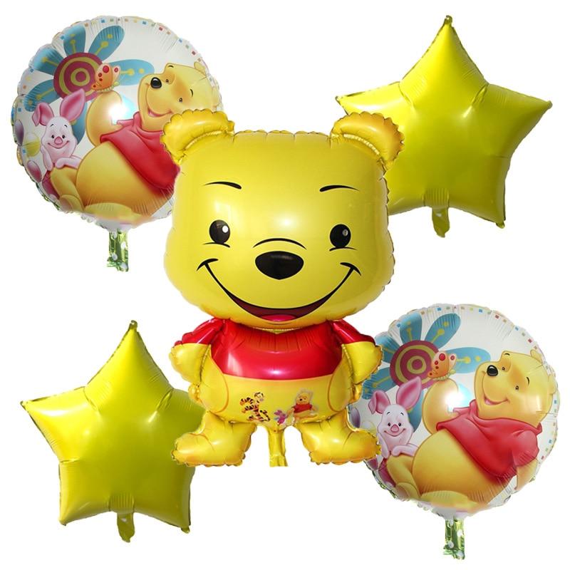 hot 5pc set Cartoon Winnie Bear Foil Balloons Happy birthday decor air balls wedding decor Children classic toys Helium balloon in Ballons Accessories from Home Garden