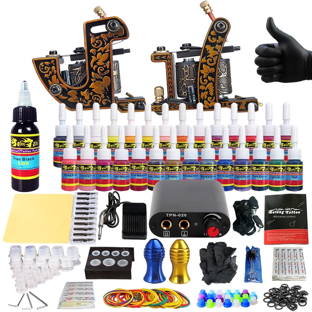 Solong Tattoo complete professional 2 tattoo Machine Guns set Tattoo Kit 28 Inks Needle Grips power supply TK204 30 in Tattoo Kits from Beauty Health