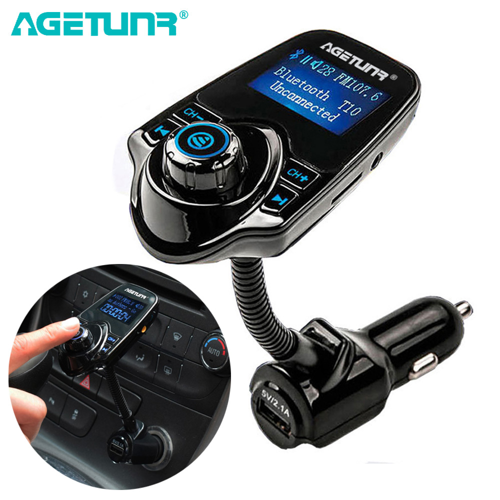 "AGETUNR T10 1.44"" Bluetooth Car Kit Handsfree Set FM Transmitter MP3 Music Player 5V 2.1A USB Car Charger Support AUX In & Out"