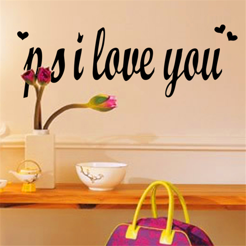 ^ p.s i love you English quotes removable wall stickers living room bedroom new couple wedding room diy removeable decals poster