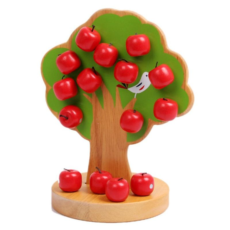 Wooden Apple Tree Family Game Play House Kids Educational Montessori Toys Counting Arithmetic Toys free shipping
