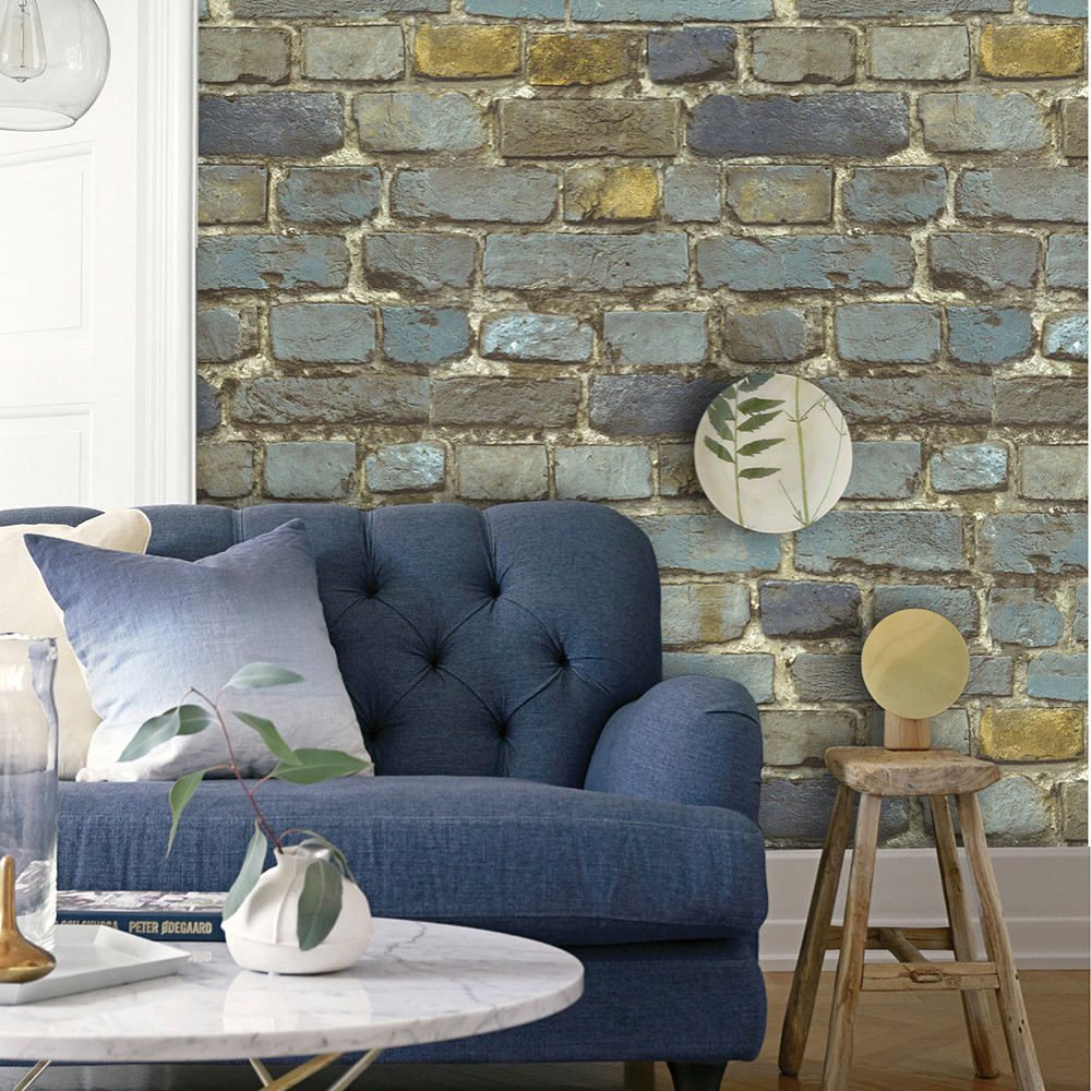 HaokHome Vintage Peel & Stick Stacked Stone 3dWallpaper Faded Rusty ...