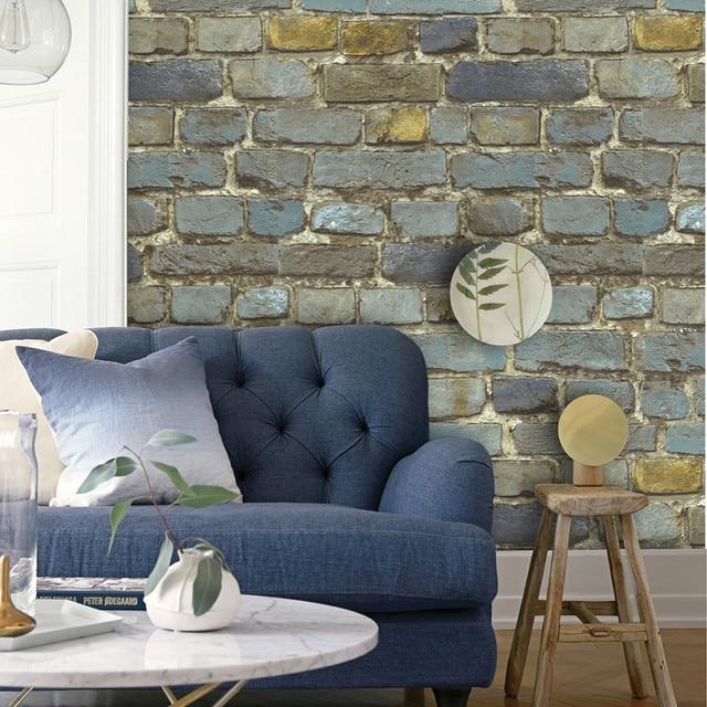 HaokHome Vintage Ziegel Strukturierte PVC Vinyl Tapete Für Wand 3d Rollen  Blau/Gelb/Braun