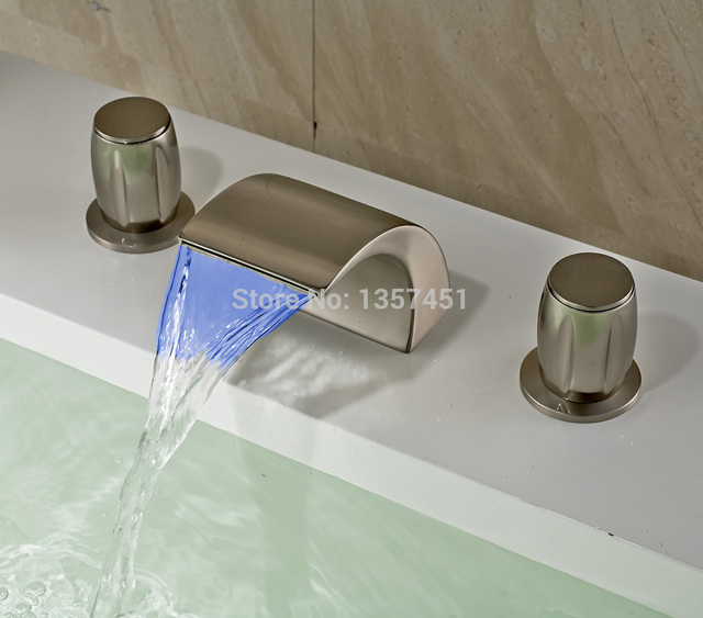 LED Light Waterfall Bathroom Sink Faucet 3 Holes Basin Mixer Tap Brushed  Nickel