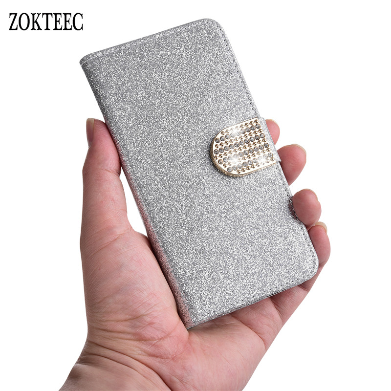 ZOKTEEC New Fashion Bling Diamond Glitter PU Flip Leather Case For Samsung Galaxy S8 S9 Plus S10 S10E A10 A40 A50 A60 5g Case in Flip Cases from Cellphones Telecommunications
