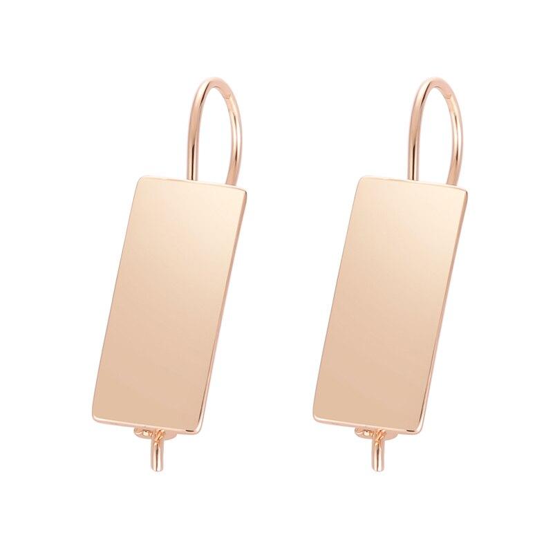 FJ женские гладкие Серьги Квадратные медные 585 розового золота висячие длинные серьги