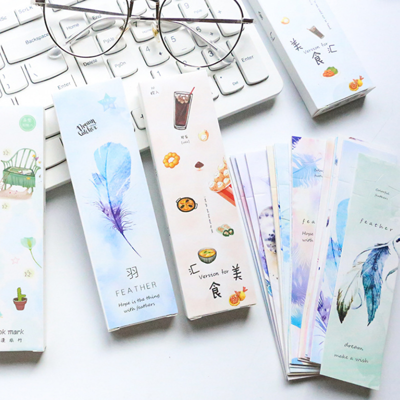30 Pcs/pack Fresh Romantic Travel Bookmark Paper Bookmarkers Promotional Gift Stationery Free Bookmarks For Books Book Marks