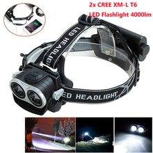 4000LM 2X XM-L T6 LED Headlamp Headlight Bright Head Light Waterproof Flashlight High Power LED Headlamp +USB Cable For 2* 18650