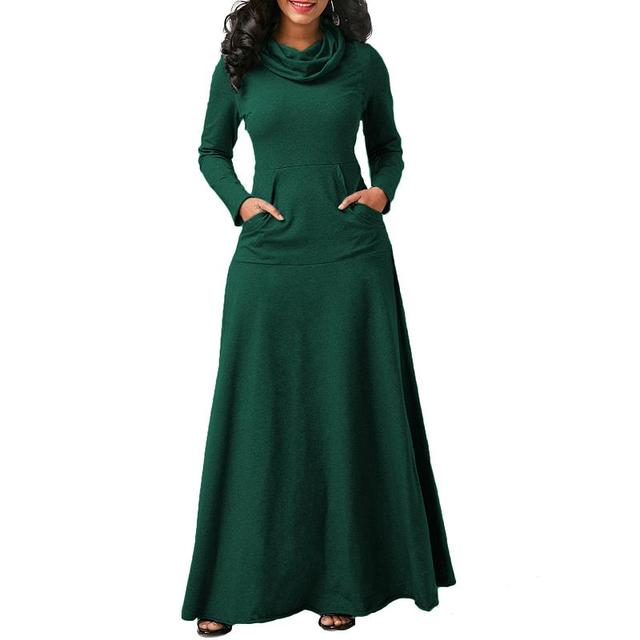 Women Warm Dress With Pocket Casual Solid Long Sleeve Vintage Maxi Dress Robe Bow Neck Long Elegant Dress Vestidos Female Body 2