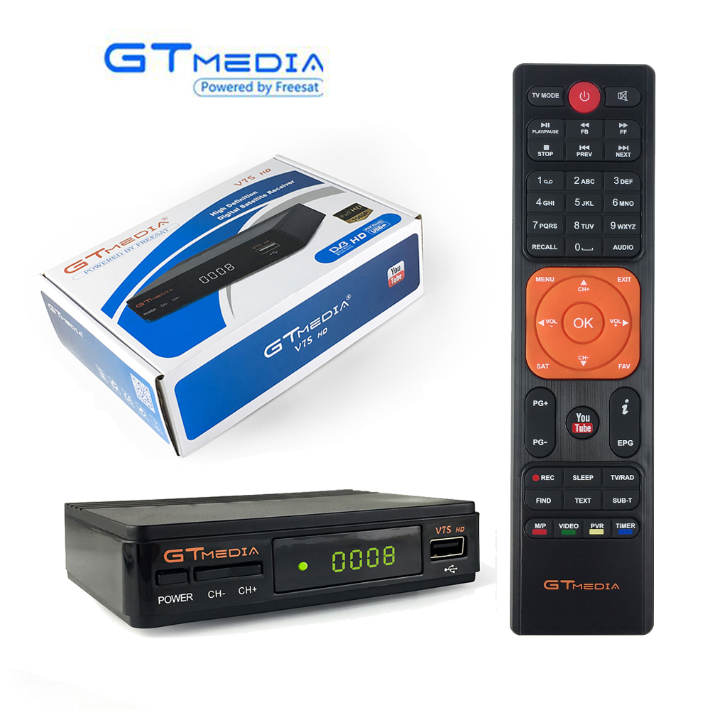 Gtmedia DVB-S2 V7S 1080 p Receptor Digital Receptor de Satélite Sintonizador de Tv HD Caixa Cline Biss Decodificador VU PVR WiFi Youtube freesat v7