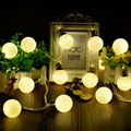 1* Warm Light 1M 10LED Ball Shape LED String Lights 2AA Battery-powered Lights for Decorating Bedroom Christmas Tree