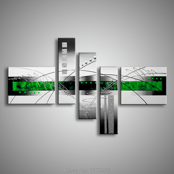 5 Pcs Line Oil Painting On Canvas High Quality Modern Abstract Set Home Decoration Wall Art Picture For Living Room Sale