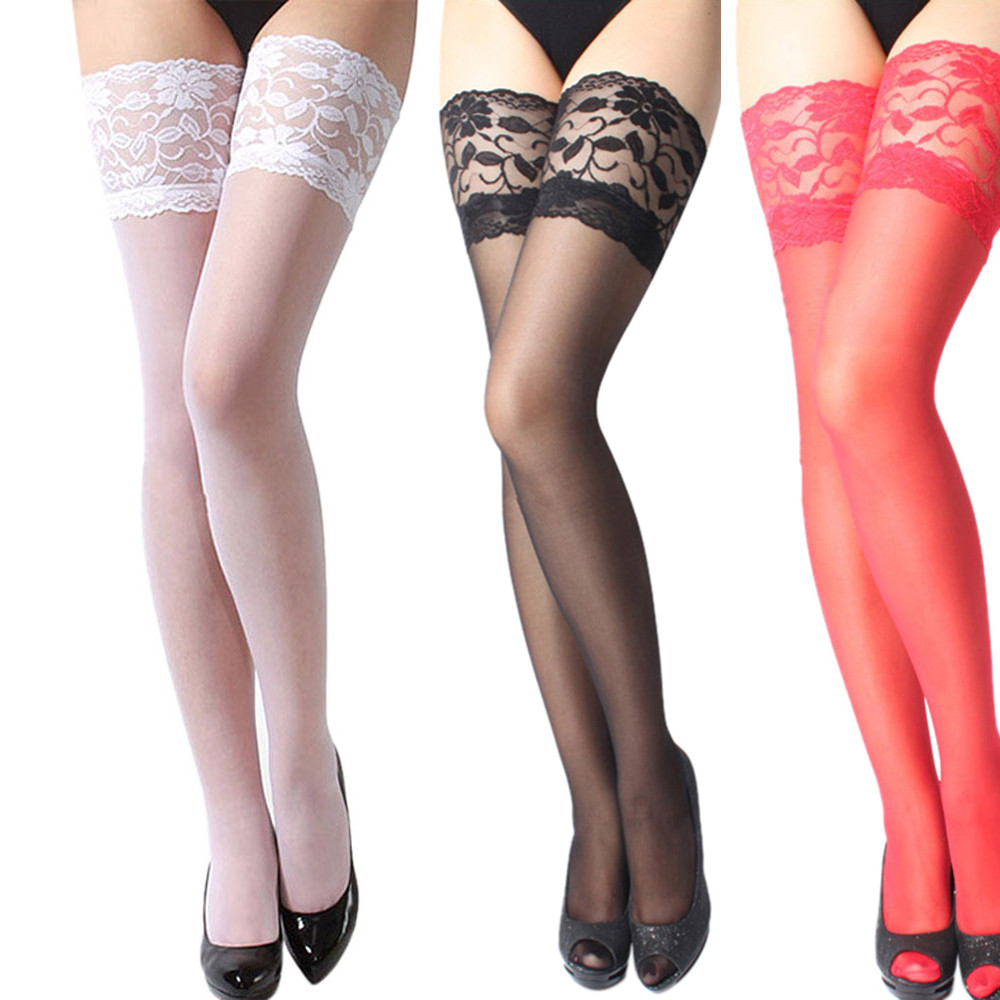 #15Fashion Stocking Sexy Womens Lingerie Net Lace Top Thigh Stocking Pantyhose Babydoll Nightdress Collant