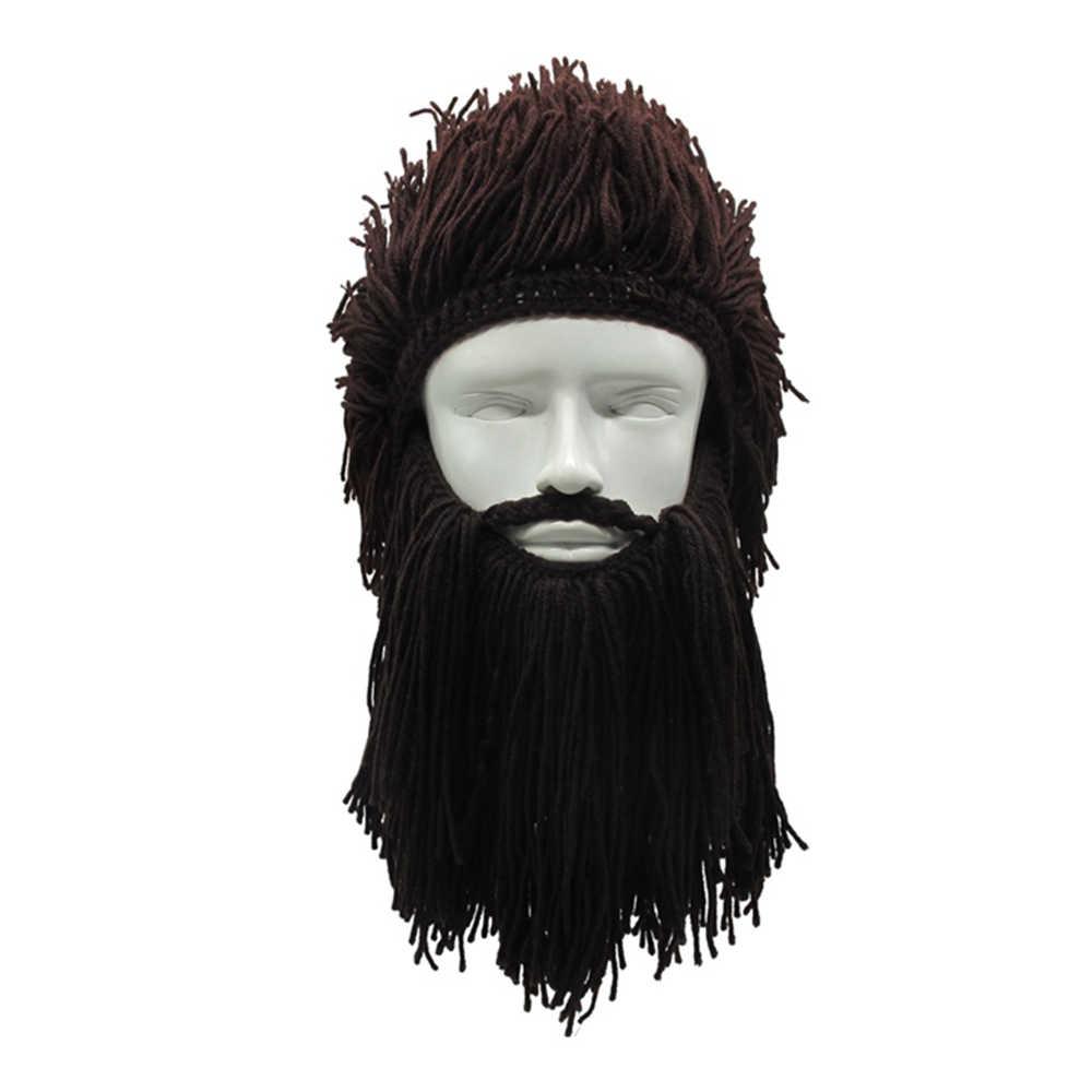 Halloween Cosplay Hat Unisex Handmade Knit Viking Beard Horn Hat Funny Crazy  Ski Mask Cap Barbarian 6911990df3c