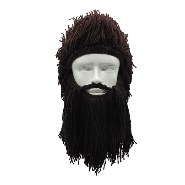 e9045cd10db Halloween Cosplay Hat Unisex Handmade Knit Viking Beard Horn Hat Funny  Crazy Ski Mask Cap Barbarian