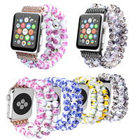 Women S Flower Ceramic Beads Stretch Bracelet For Apple Watch Band Wristband For IWatch 42mm 38mm