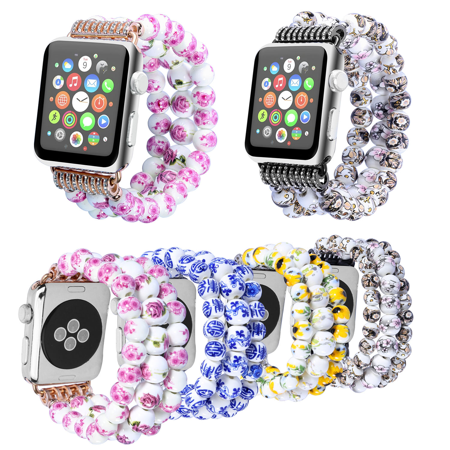 Women's Flower Ceramic Beads Stretch Bracelet for Apple Watch Band Wristband Strap for iWatch 42mm 38mm 44mm 40mm Series 4 3 2 1 | Watchbands