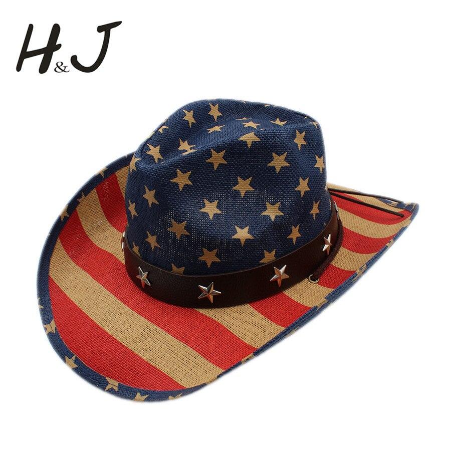 Wanita pria berongga topi koboi pria barat cowgirl jazz sombrero pantai  matahari topi berkuda cap ayah ratu musim panas amerika flag di Topi Koboi  dari ... 6eae1711c7