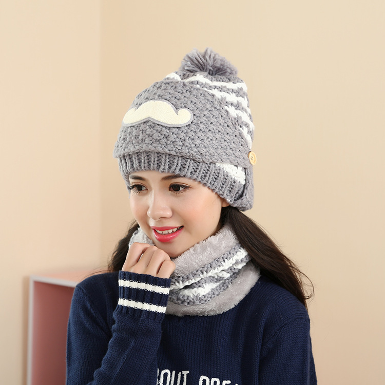 Free Shipping 1 Set 3 PCS Fashion 2016 Autumn And Winter Hats Warm Knitting Ball Cap Casual Outdoor Caps For Women WCXD009