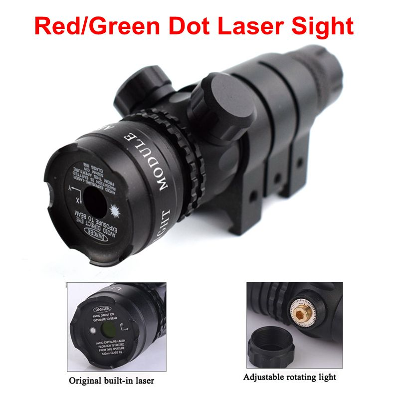 Tactical Hunting Shooting Rifle Red/Green Dot Laser Sight Scope 20mm Rail Airsoft Military Pistol Gun Laser Sight