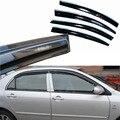 4 pcs Janelas de Ventilação Viseiras Chuva Guarda Sol Escudo Escuro Defletores Para Toyota Corolla EX 2003-2013