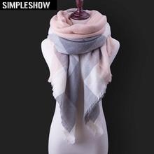 Горячая Распродажа, Модный зимний шарф, Женские повседневные шарфы, Дамское Клетчатое одеяло, кашемировый треугольный шарф,, Прямая поставка