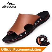 Купить с кэшбэком ALCUBIEREE Men Shoes Solid Flat Bath Slippers Summer Sandals Indoor & Outdoor Slippers Casual Men Non-Slip Flip Flops Beach Shoe