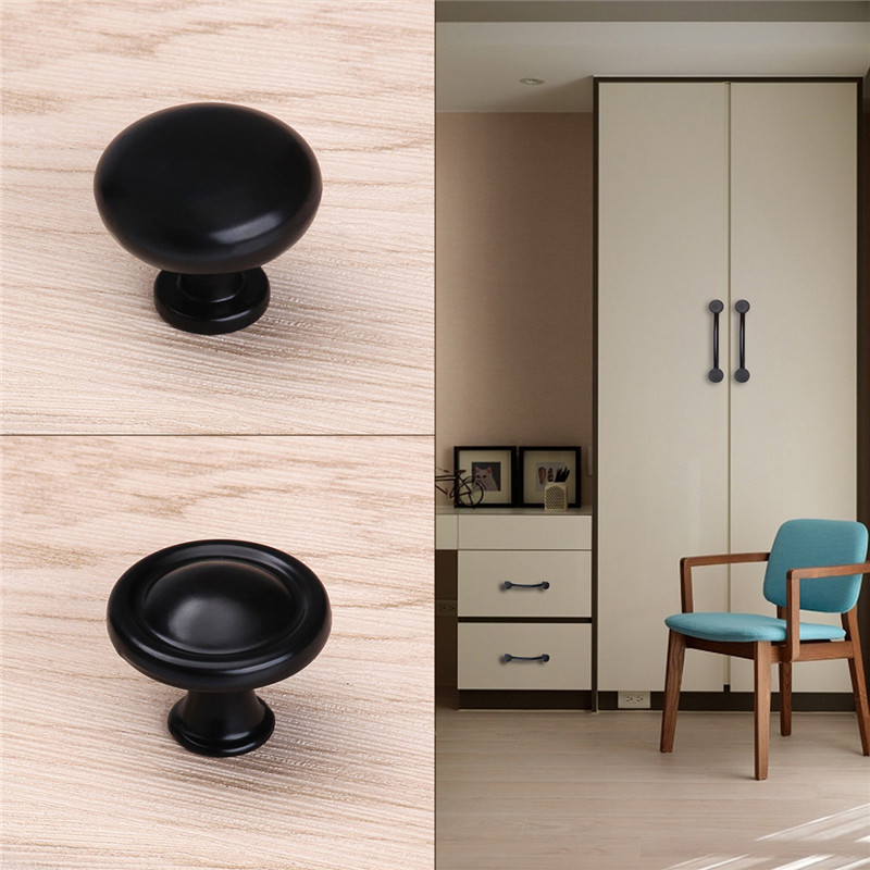 цена на Black Simple Zinc Alloy Cupboard Pull Single Hole Drawer Kitchen Round Knobs for Furniture Hardware Cabinet Wardrobe Door Handle