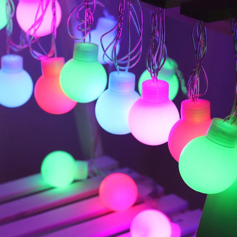 5m 20 LED String Light 5cm Globe Big Balls Festoon Fairy Lights Bulb Outdoor Decoration For Wedding Christmas Party Garland JQ0 2 5 10m 10 38led holiday lights 5cm big balls led light string ac plug rgb warm white xmas garland christmas fairy decoration da