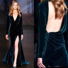 Вельветовые вечерние платья с v образным вырезом и длинными