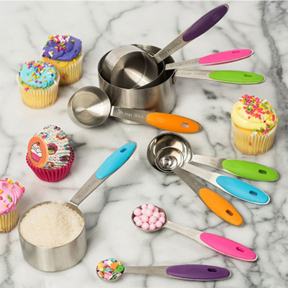 10 Piece Measuring Cups and Spoons Set Kitchen tool  Stainless Steel Soft Handle