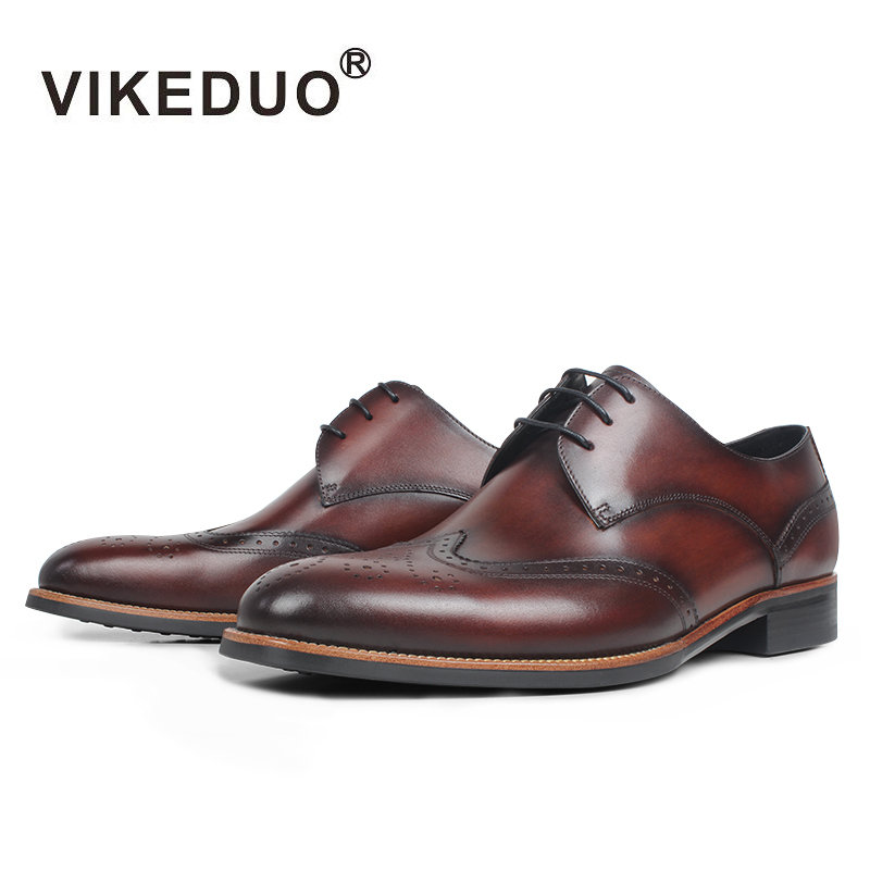 VIKEDUO 2019 New Full Brogues Men Shoes Genuine Leather Wedding Office Derby Dress Shoes Patina Mans Footwear Zapatos de Hombre