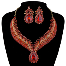 Africa Hot sale India jewelry Sets Bridal crystal Necklace earrings set Women Party Statement Jewelry set Dress Accessories
