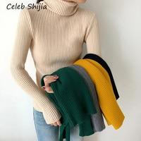 Новый осенний свитер женский Водолазка желтый черный с длинным рукавом эластичные вязаные пуловеры женский синий pull femme зима плюс размер