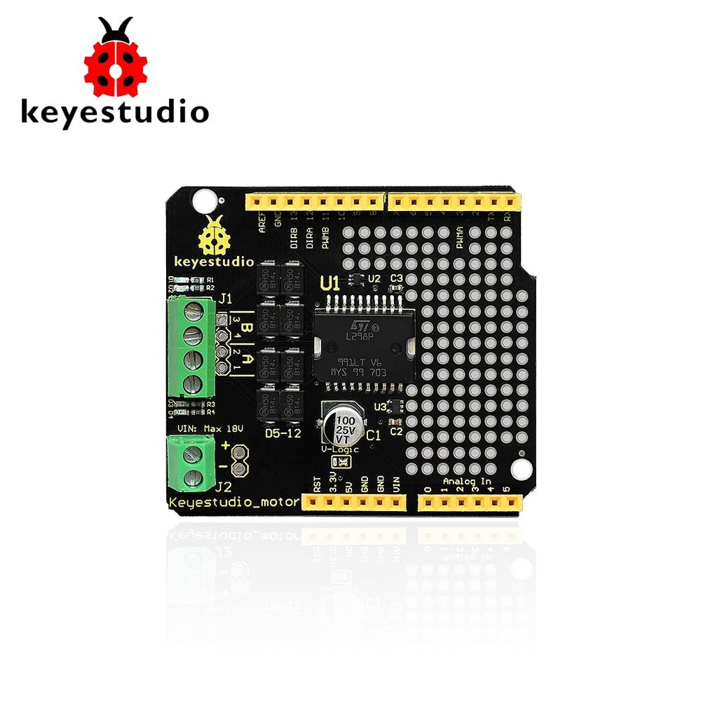 Keyestudio L298P Shield/2A High Current Doppio Module Motor Drive per arduinoKeyestudio L298P Shield/2A High Current Doppio Module Motor Drive per arduino