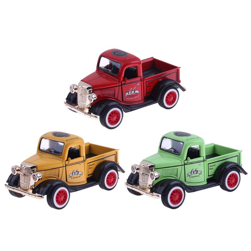 1pc 1:36 Kids Alloy Light Music Pickup Car Truck Simulation Model Toys Funny Pull Back Red Green Yellow Cars Boys Xmas Gift high simulation car 1 46 scale alloy pull back ford f150 pickup truck raptor soil version alloy car model toys free shipping