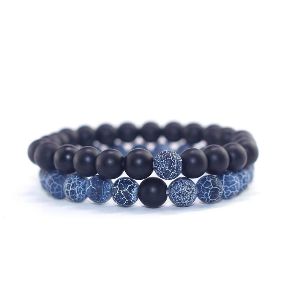 2Pcs/Set Black White Lava Stone Beads Wrap Couple Distance Bracelets Natural Stone Charm Bracelets Women Men Bracelet Jewelry