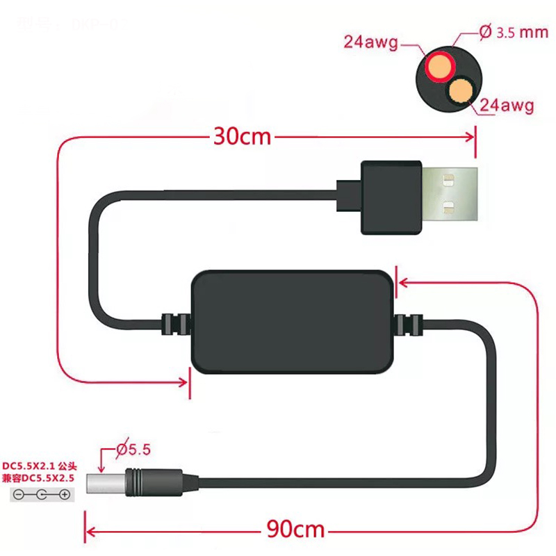 DC-DC адаптер конвертер кабель USB A Тип Штекерный разъем 5 В до 9 В/12 В DC Jack шаг вверх модуль питания кабель Шнур 5.5x2.1мм