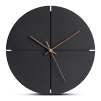 12 Inch Large Wooden Hanging Wall Clock Silent MDF Wood European Style Wall Clocks Room Office Simple Concise Design Home Decor