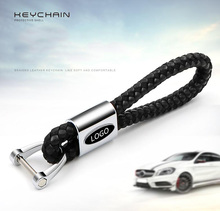 1PC car key chain With emblem for benz Car Key Ring Metal leather material Newest auto