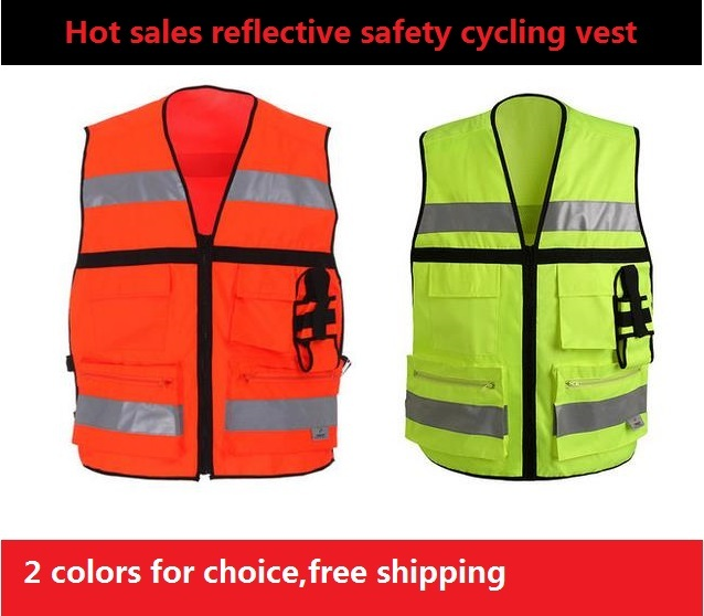 Reflective vest /Side waist buckle vest/ Many sports pocket safety protective clothing for sports cyling