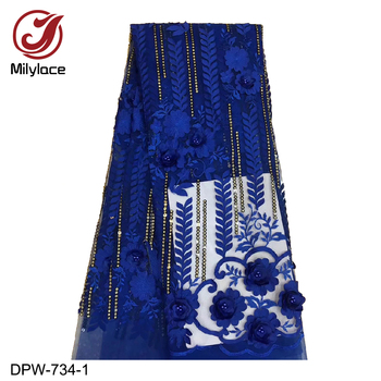 Blue Lace Fabric High Quality 2019 3D Applique with Beaded Lace Fabric Nigerian Tulle Lace for Dresses DPW-734