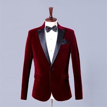 Men Wine Red Velvet Blazer Masculino Costume Homme  Blazer Masculino Burgundy Printed Mens Floral Blazer Homme