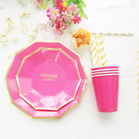 Gold Foil Rose Pink Tableware Set Plate Cup Straw Girl 1st Birthday Decoration Paper Tableware 16