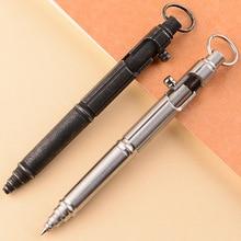 Ручка шариковая ручной работы из нержавеющей стали, тактическая Защитная металлическая ручка с болтом и окошком, портативный уличный инструмент для самообороны и письма