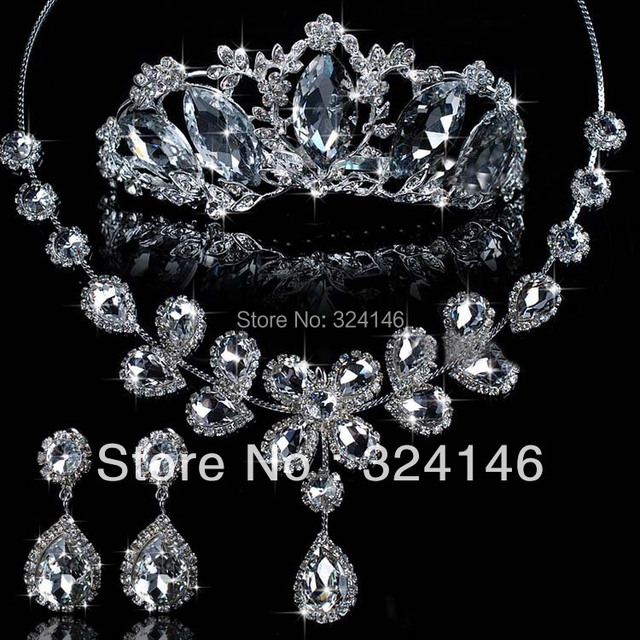 New Arrival Magnificent Crystal Bride wedding jewelry sets Noble Rhinestone Silver platee jewelry sets necklacle Accessories